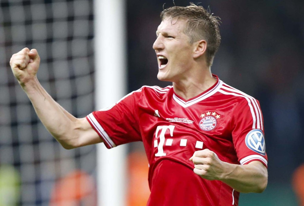 Bayern Munich's Schweinsteiger celebrates victory over VfB Stuttgart in their German soccer cup (DFB Pokal) final match at the Olympic Stadium in Berlin